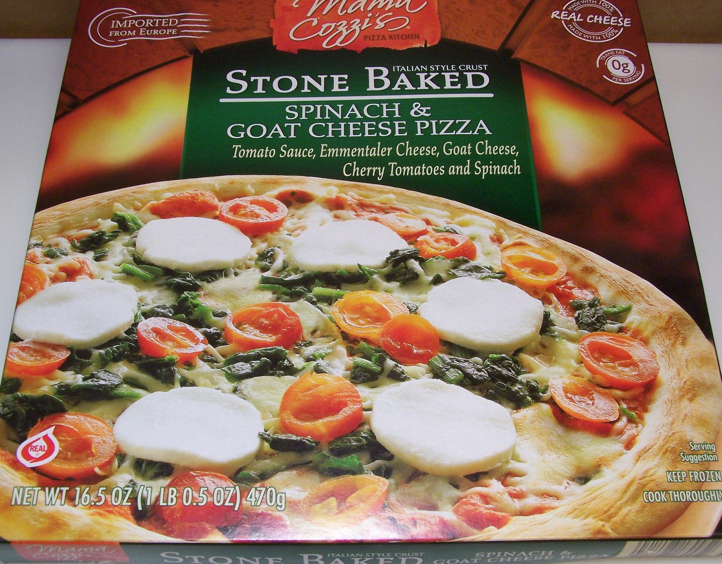 Aldi Mama Cozzis Stone Baked Spinach Goat Cheese Pizza