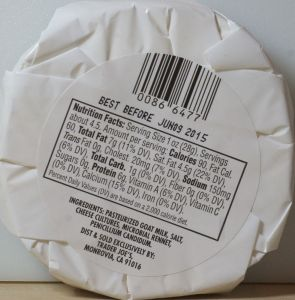 Trader Joe's Goat Milk Brie - back label