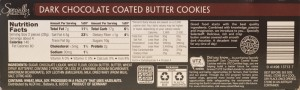 ALDI Specially Selected Chocolate Covered Butter Cookies - back label