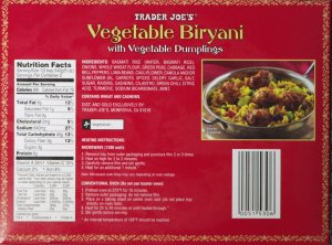 Vegetable Biryani Back Trader Joe's