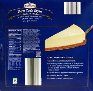 ALDI - Belmont New York Style Cheesecake - back