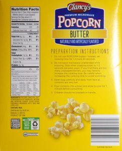 Clancy's Butter Popcorn ALDI - back