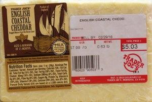 trader joe's, cheese, english coastal cheddar, review, price, calories