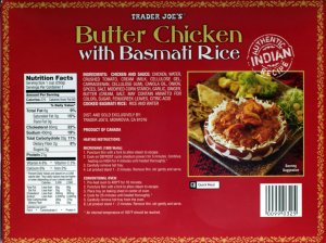 food, review, butter chicken, trader joe, indian, basmati