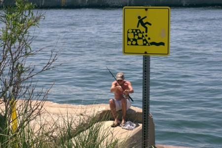 fishing, lake, edge, fall, sign, street photography
