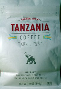 trader joe, whole bean coffee, Tanzania, dark roast, arabica