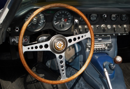 Jaguar, E-Type, car, cockpit