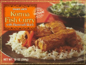 korma fish curry, trader joe, frozen dinner