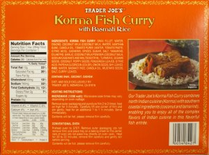 korma fish curry, trader joe, nutrition, frozen dinner
