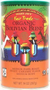 coffee, trader joe's, Bolivian Blend, medium dark roast, fair trade, organic