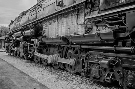 big boy, steam locomotive, railroad, monochrome, union pacific
