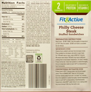 aldi, fit active, philly cheese steak, review, price, nutrition