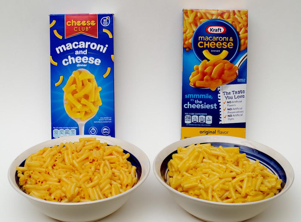 Aldi cheese club vs kraft macaroni and cheese food for Craft macaroni and cheese