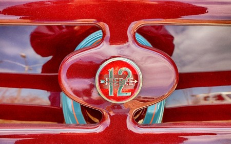 car, classic, pierce arrow 12, detail, badge