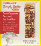 trader joe, dark chocolate, nuts, sea salt, review, price, nutrition, simply nutty bars