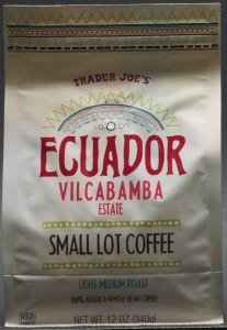 trader joe's, review, coffee, ecuador, vilcabamba, light-medium roast