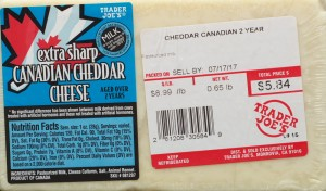 Trader Joe's, Canadian Extra Sharp Cheddar, review, price, calories, nutrition