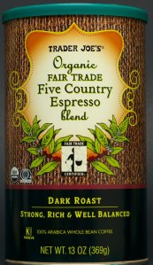 trader joes, coffee, whole bean, five country espresso, review, price, fair trade, organic