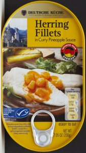 aldi, herring, pineapple curry, deutsche kuche food, review, price, calories, nutrition