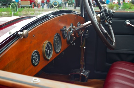 wpc, vintage car, interior, wood dash, window