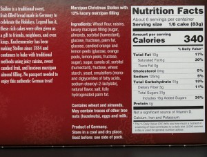 tj, trader joe, marzipanstollen , nutrition, review, calories, price