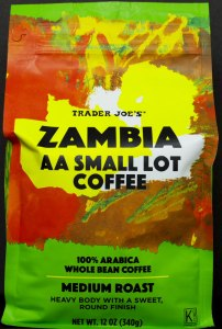 trader joe, coffee, whole bean, review, price, zambia, AA