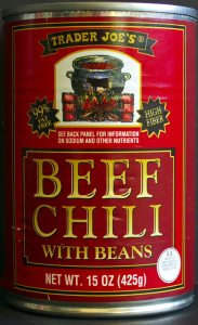 Trader Joes, beef chili with beans, review, price, calories, nutrition