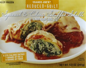Trader Joe, Stuffed Spinach Cheese Shells, review, nutrition, calories, price, reduced guilt